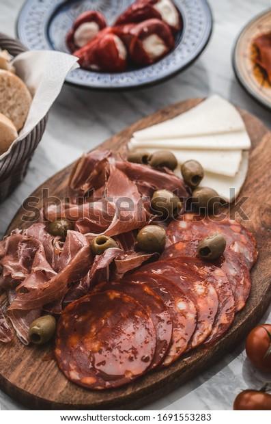 Spanish ham and cheese antipasti