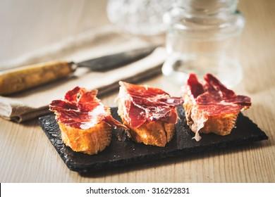 Spanish ham tapas, vintage edition.