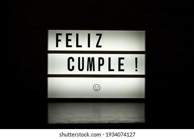 Spanish happy birthday sign lightbox