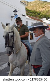 Spanish horsemen at the fiesta , Mijas, Andalucia , Spain. 10th September 2018,. For editorial use only