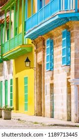 Spanish houses in Old Havana streets.
