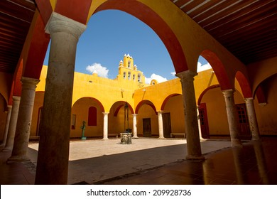 Spanish interior courtyard with arches
