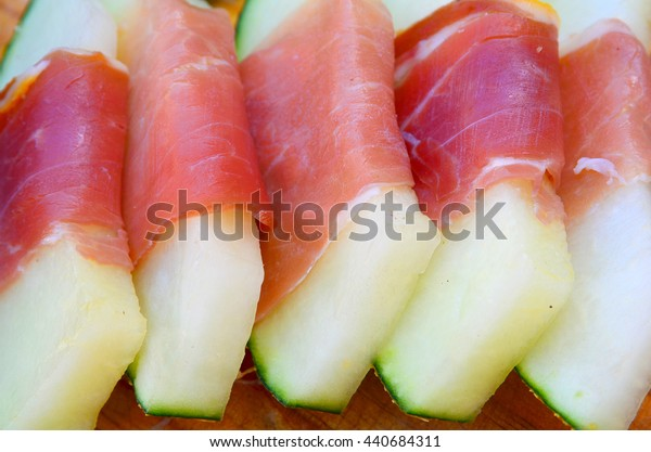 Spanish jamon with melon close up.Melon with serrano ham, a typical dish in Spain.