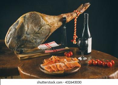 Spanish Jamon Serrano. Slices of Parma Ham. Hamon Iberico. Gourmet ham