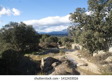Spanish landscape, Camino de Santiago,  view of Way of Saint James close to Madrid
