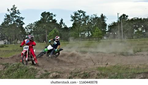 Spanish lookout, Belize - AUGUST 19, 2018 a near collision between John Wayne Friesen and Royal Gunther on Arrow Raceway