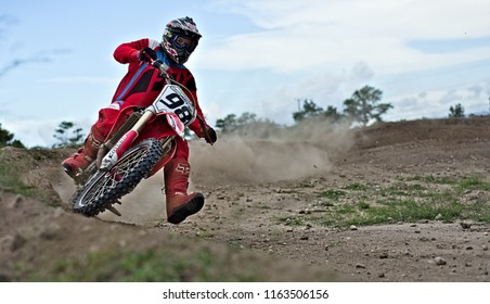 Spanish lookout, Belize August 19, 2018 Royal Gunther riding his CRF450R on Arrow Raceway