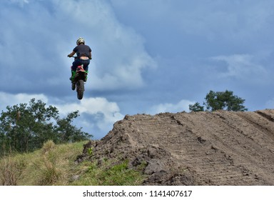 Spanish lookout, Belize - January 27, 2018 Justin Dueck practicing motocross for an up coming race