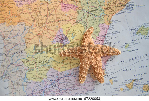 Map Of Spain Costa Blanca.Spanish Map Spain Starfish Near Costa Stock Photo Edit Now 67220053