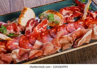 Spanish meat plate - hamon, serrano, chorizzo