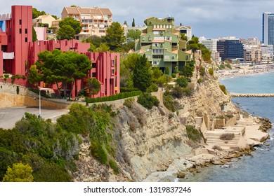 Spanish mediterranean coastline in Alicante. La manzanera. Red wall. Calpe
