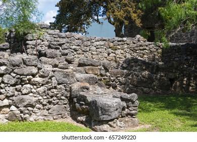 Spanish mission border stone wall
