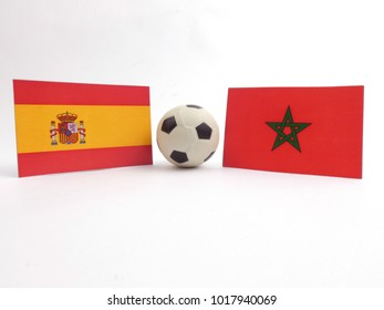 Spanish and Moroccan flag with football ball isloated on white background
