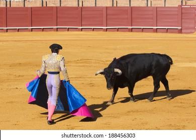 Spanish national amusement - corrida, bullfighting in Spain.