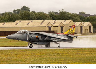 Spanish Navy EAV-8B Harrier II Plus making a big spray on the wet runway at RAF Fairford for the 2019 RIAT. Taken July 2019.