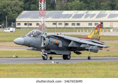 Spanish Navy EAV-8B Harrier II Plus on runway ready to lift off at the RIAT 2019 held at RAF Fairford. Taken on 21st July 2019.