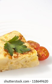 Spanish omelette with potatoes and onion. Tortilla espanola