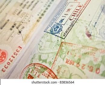Spanish passport flying to Chile
