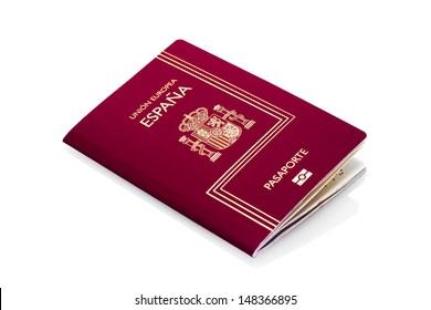Spanish passport isolated on white