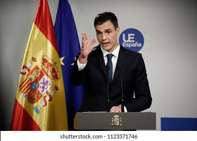Spanish Prime Minister Pedro Sanchez holds a news conference after the European Council summit in Brussels, Belgium, 29 June 2018.