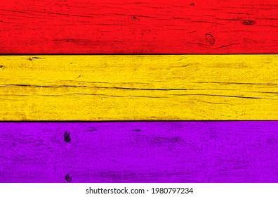 drapeau républicain espagnol peint sur fond grunge bois