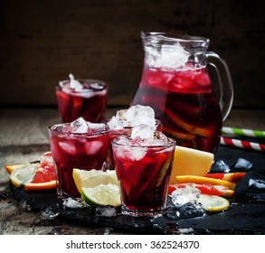 Spanish sangria with fruit and ice, selective focus
