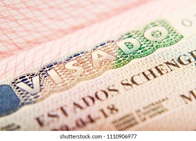 Spanish Schengen Visa In A Passport