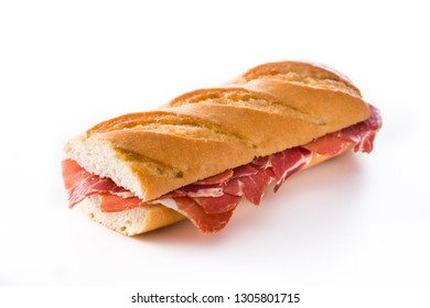 Spanish serrano ham sandwich isolated on white background