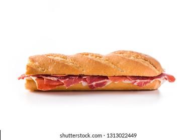 Spanish serrano ham sandwich isolated on white background.