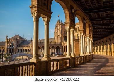 Spanish Square called Plaza de Espana in Seville, Andalusia, Spain
