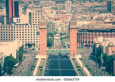 Spanish Square (Placa d'Espanya) in Barcelona, Spain. Filtered color tone.