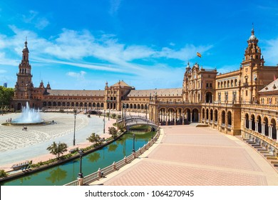 Spanish Square (Plaza de Espana) in Sevilla in a beautiful summer day, Spain
