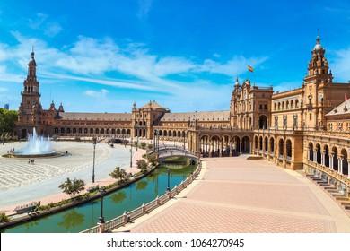 Spanish Square (Plaza de Espana) in Sevilla in a beautiful summer day, Spain