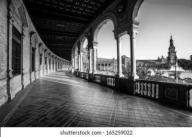 Spanish Square (Plaza de Espana) in Sevilla, Spain. Black and White