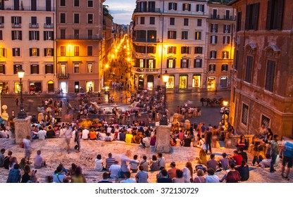 Spanish steps by night, Rome, italy. 23 July 2015