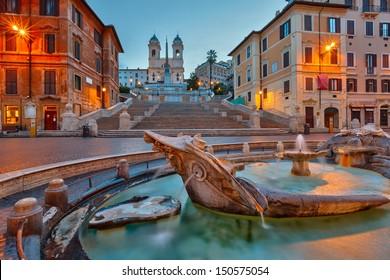 Spanish Steps at dusk, Rome, Italy