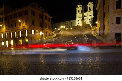 Spanish Steps illuminated at night, Rome, Italy / Piazza di Spagna one of the most famous squares in Rome