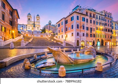 Spanish Steps in the morning, Rome, Italy at twilight
