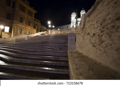 The Spanish Steps at night in Rome, Italy / Piazza di Spagna one of the most famous squares in Rome