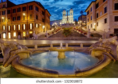 Spanish Steps, night time in Rome, Italy