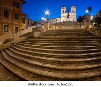 Spanish Steps and Trinita del Monti Church in the Morning, Rome, Italy
