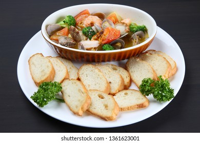 Spanish style garlic shrimp Ajillo with sliced bread