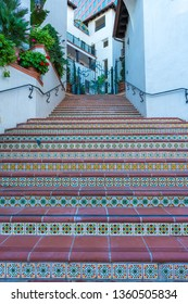 Spanish Style Staircase Entrance to Apartments in Westwood, Los Angeles, California