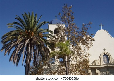 Spanish style white church with bell tower, Old Town, San Diego, California