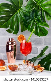 Spanish summer sangria cocktail with blood oranges