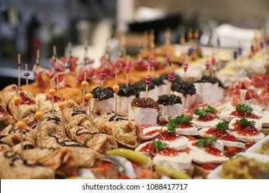 Spanish tapas called pintxos of the Basque country