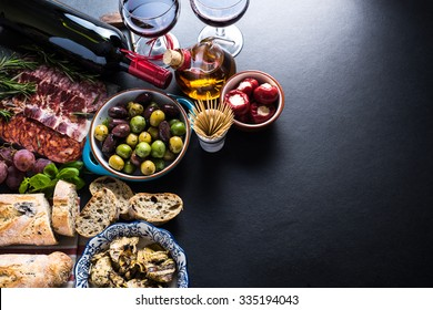 spanish tapas , food border background overhead view