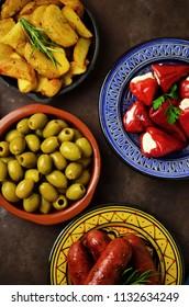 Spanish tapas on wooden table