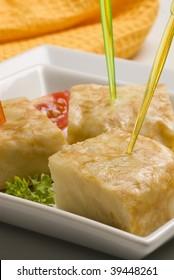Spanish tapas. Pinchos. Spanish omelette snacks. Tortilla espanola.