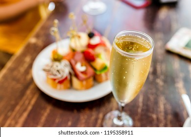 spanish tapas sanwich appetizer and Cava wine, Catalan traditional cuisine